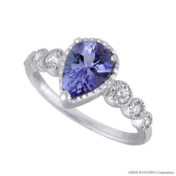 タンザナイトリング 指輪(ペアシェイプカット/ダイヤモンド6石/ミル打ち/プラチナ/12月誕生石)