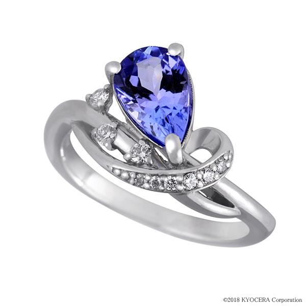 タンザナイト リング 指輪 プラチナ ペアシェイプ ダイヤ9石 12月誕生石 プレゼント 天然石 京セラ