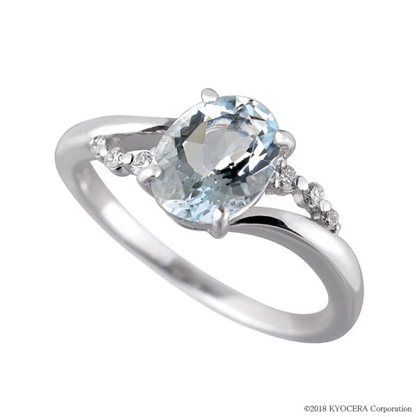 アクアマリン リング 指輪 K18ホワイトゴールド 1カラットUP オーバル8mm*6mm メレダイヤ6石 3月誕生石 プレゼント 天然石 京セラ