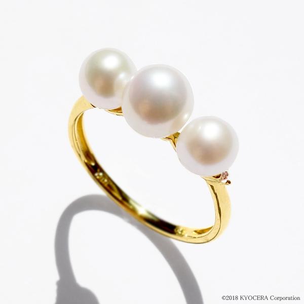 真珠 パール ベビーパール リング 指輪 K18イエローゴールド 淡水パール 5.0mm~6.0mm 6月誕生石 プレゼント 京セラ