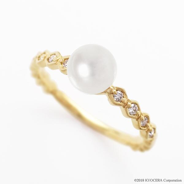 真珠 パール リング 指輪 K18イエローゴールド アコヤ真珠 5.0mmUP 6月誕生石 プレゼント 京セラ