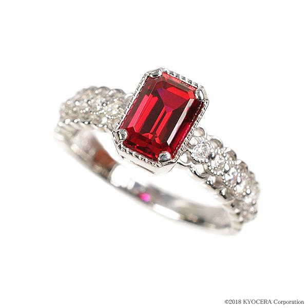 ルビー リング 指輪 K18ホワイトゴールド エメラルドカット アンティーク風 7月誕生石 プレゼント クレサンベール 京セラ