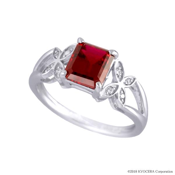 ルビー リング 指輪 K18ホワイトゴールド エメラルドカット バタフライ 7月誕生石 プレゼント クレサンベール 京セラ