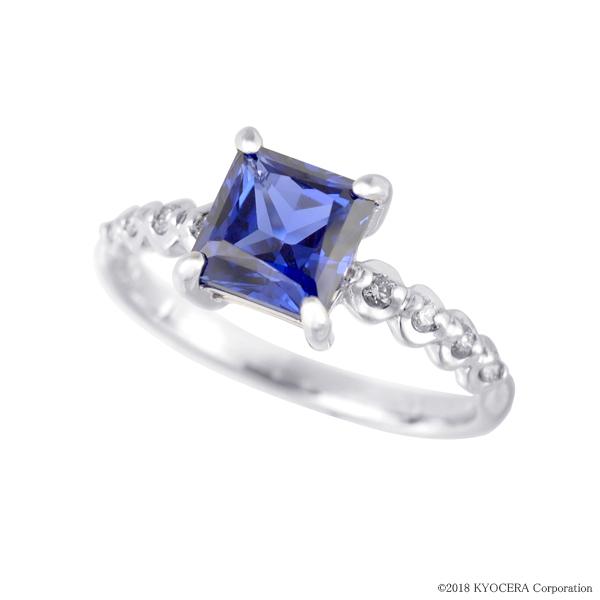 ブルーサファイア リング 指輪 K18ホワイトゴールド プリンセスカット 6mm*6mm 9月誕生石 プレゼント クレサンベール 京セラ