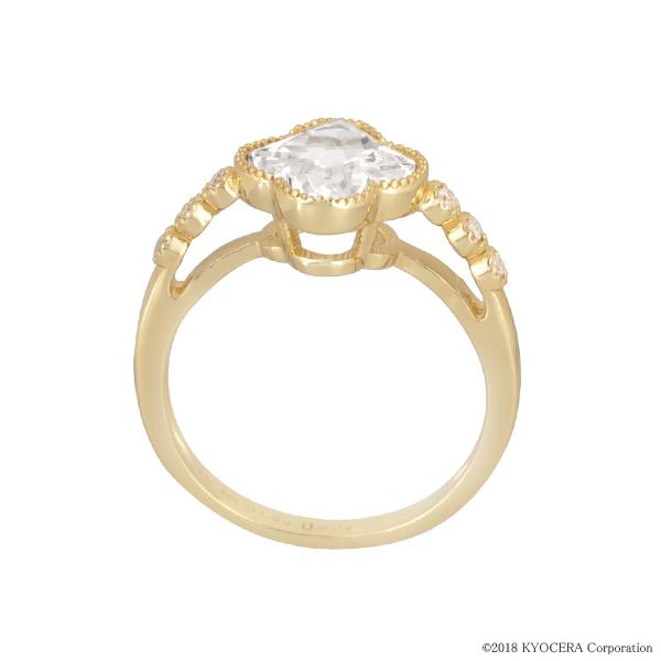 ホワイトサファイア リング 指輪 K18イエローゴールド フラワー リリーカット ミル打ち 9月誕生石 プレゼント クレサンベール 京セラ