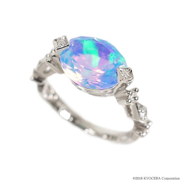 ウォーターオパール リング 指輪 プラチナ オーバル 10月誕生石 プレゼント クレサンベール 京セラ