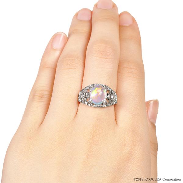 ウォーターオパール リング 指輪 プラチナ カボション アンティーク風 10月誕生石 プレゼント クレサンベール 京セラ