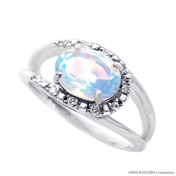 ウォーターオパール リング 指輪 K18ホワイトゴールド オーバル メレダイヤ10石 10月誕生石 プレゼント クレサンベール 京セラ