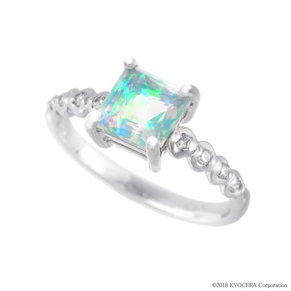 ウォーターオパール リング 指輪 K18ホワイトゴールド プリンセスカット 6mm*6mm 10月誕生石 プレゼント クレサンベール 京セラ