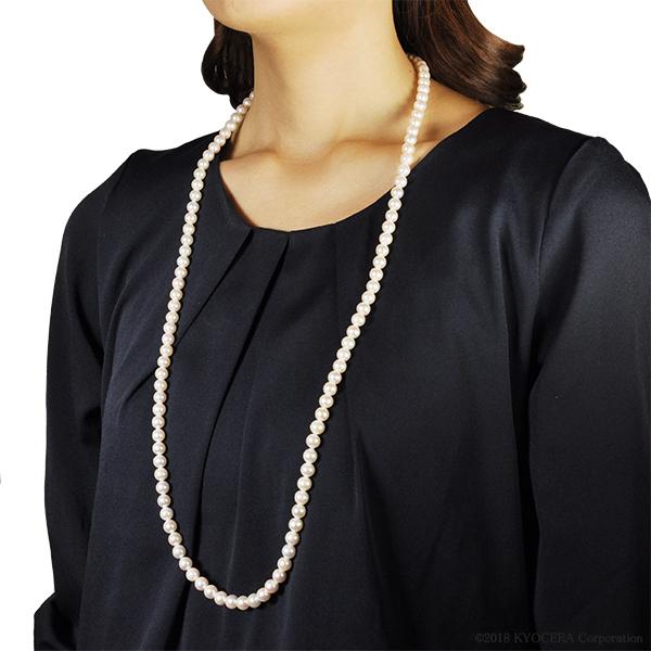 真珠 パール ネックレス ロングネックレス シルバー アコヤ真珠 7.0mm~7.5mm 83cm 6月誕生石 プレゼント 京セラ