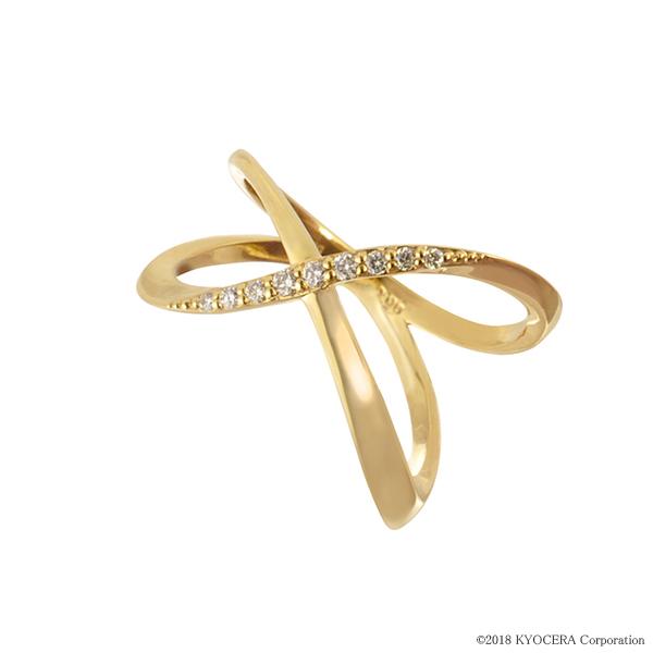 ダイヤモンド リング 指輪 K18イエローゴールド インデックス クロス 合計0.06カラット 4月誕生石 天然石 プレゼント 京セラ