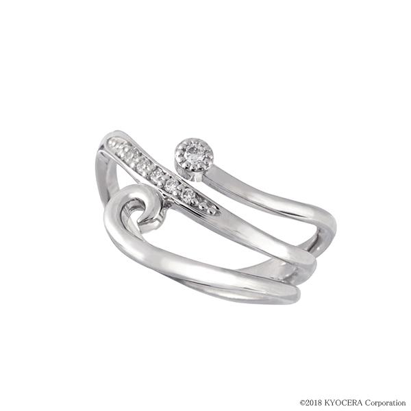 ダイヤモンド リング 指輪 プラチナ インデックス ミル打ち 合計0.06カラット 4月誕生石 天然石 プレゼント 京セラ