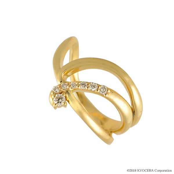 ダイヤモンド リング 指輪 K18イエローゴールド インデックス ティアラ 合計0.07カラット 4月誕生石 天然石 プレゼント 京セラ