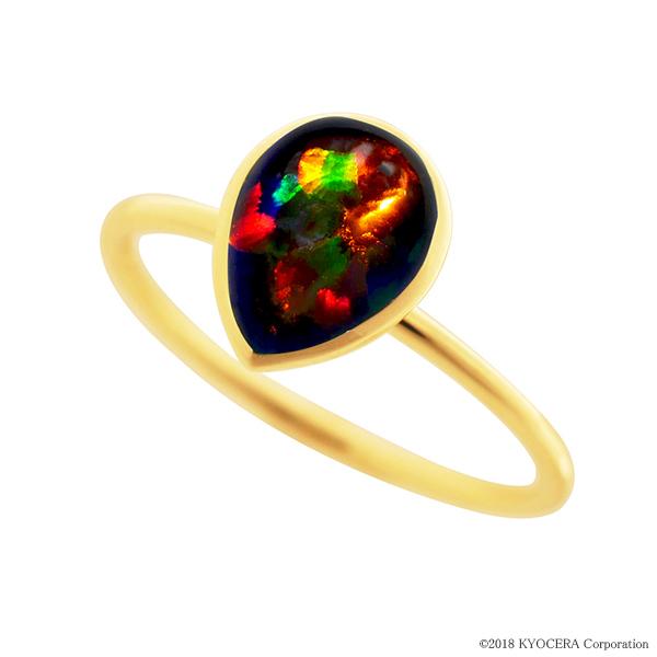 ブラックオパールリング 指輪 1カラットサイズ ペアシェイプカボションカット K18イエローゴールド フクリン 10月誕生石 プレゼント クレサンベール 京セラ