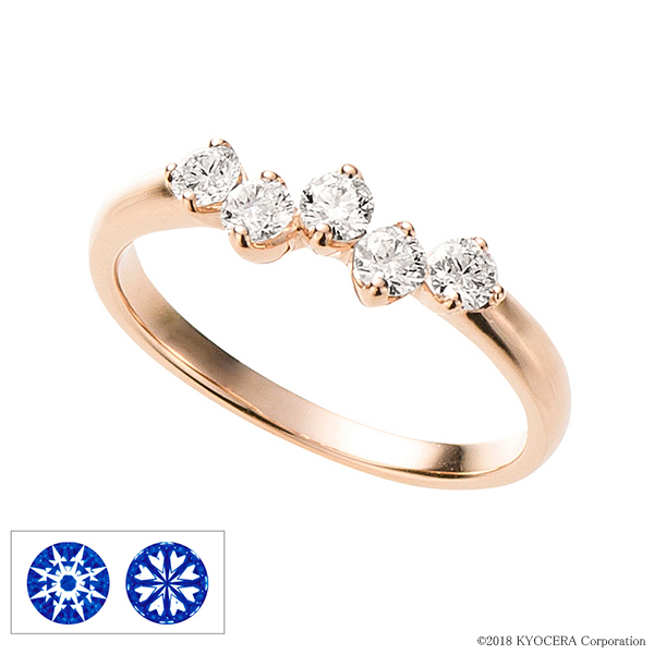 ダイヤモンド リング 指輪 K18ピンクゴールド ハート&キューピッド 5石 合計0.35ct H&C鑑別書付 天然石 4月誕生石