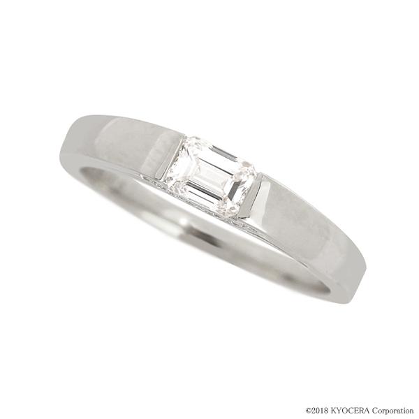 プラチナダイヤモンドリング 指輪 0.3ctUP Dカラー VVS1 エメラルドカット タンク GIA 鑑定書付 京セラ