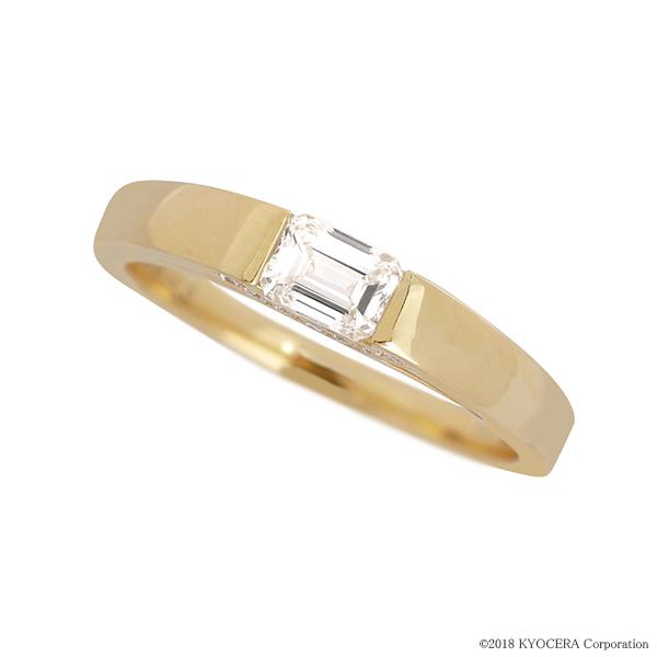 ダイヤモンドリング 指輪 0.3ctUP Dカラー VVS1 エメラルドカット イエローゴールド タンク GIA 鑑定書付 京セラ