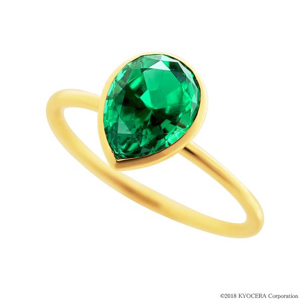 エメラルドリング 指輪 1カラットサイズ ペアシェイプカット K18イエローゴールド フクリン 5月誕生石 プレゼント クレサンベール 京セラ