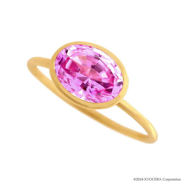 ピンクサファイアリング 指輪 1カラットUP オーバルカット K18イエローゴールド フクリン 9月誕生石 プレゼント クレサンベール 京セラ