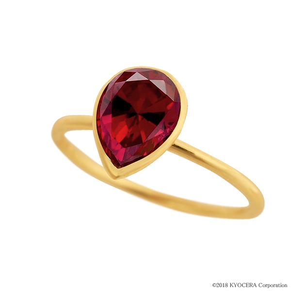 ルビーリング 指輪 1カラットUP ペアシェイプカット K18イエローゴールド フクリン 7月誕生石 プレゼント クレサンベール 京セラ