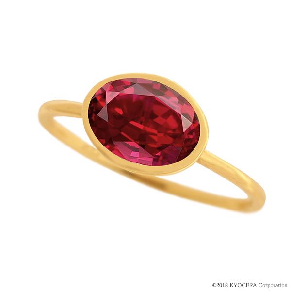 ルビーリング 指輪 1カラットUP オーバルカット K18イエローゴールド フクリン 7月誕生石 プレゼント クレサンベール 京セラ