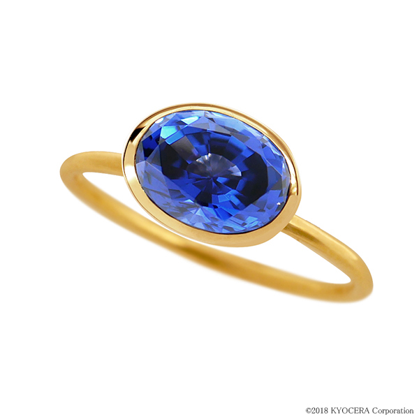 ブルーサファイアリング 指輪 1カラットUP オーバルカット K18イエローゴールド フクリン 9月誕生石 プレゼント クレサンベール 京セラ