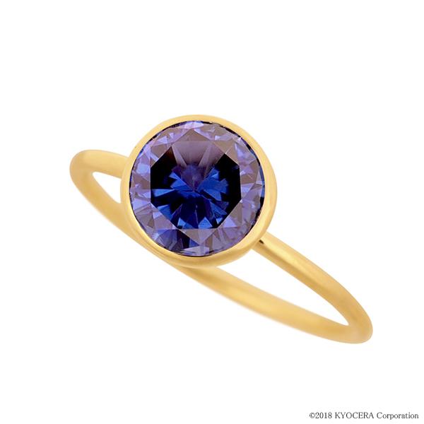ブルーサファイアリング 指輪 1カラットUP ラウンドカット K18イエローゴールド フクリン 9月誕生石 プレゼント クレサンベール 京セラ
