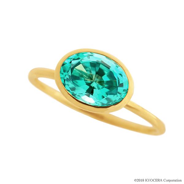 グリーンクリソベリルリング 指輪 1カラットUP オーバルカット K18イエローゴールド フクリン プレゼント クレサンベール 京セラ