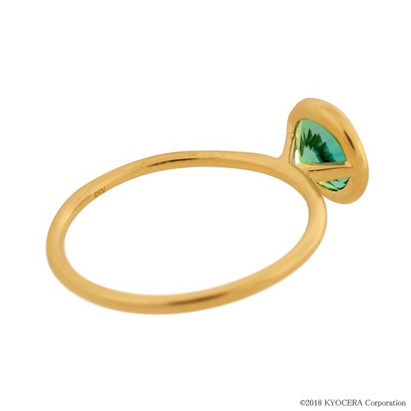 グリーンクリソベリルリング 指輪 1カラットUP ラウンドカット K18イエローゴールド フクリンプレゼント クレサンベール 京セラZikXPu