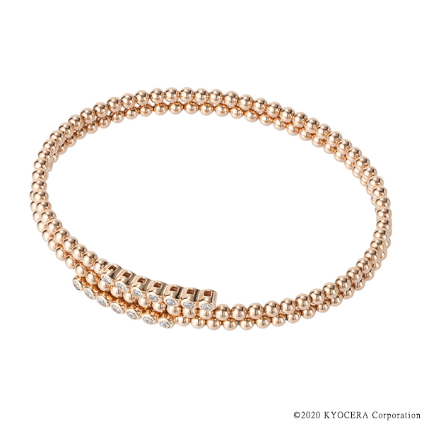 ダイヤモンドブレスレット 合計0.35ct K18ピンクゴールド 形状記憶 京セラ 4月誕生石