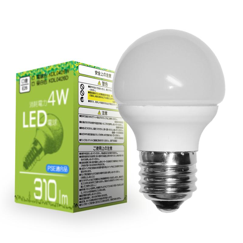 【大量】【50個セット】4WLED電球 LEDライト 明るさ25w相当 E26口金 電球色■330