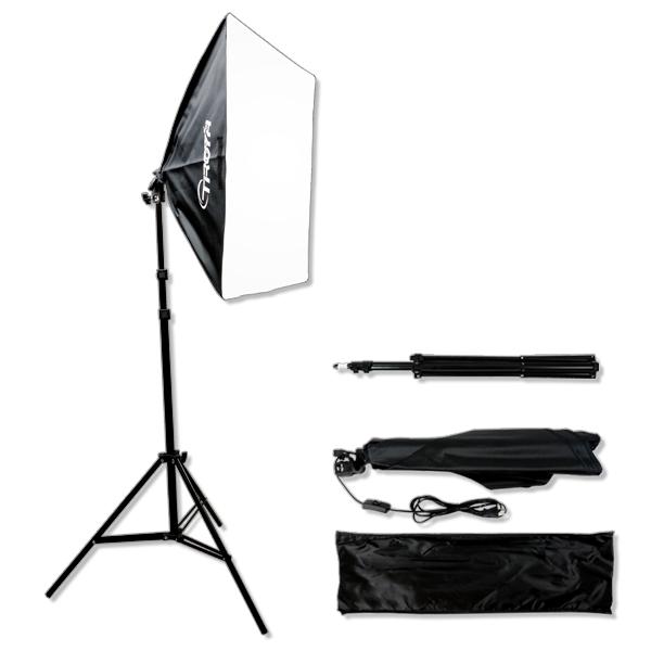 お金を節約 簡単設置スタジオライト 60×60ソフトボックス 1灯 撮影スタンド 定番 撮影用照明機材キット■305 撮影照明 スタンド