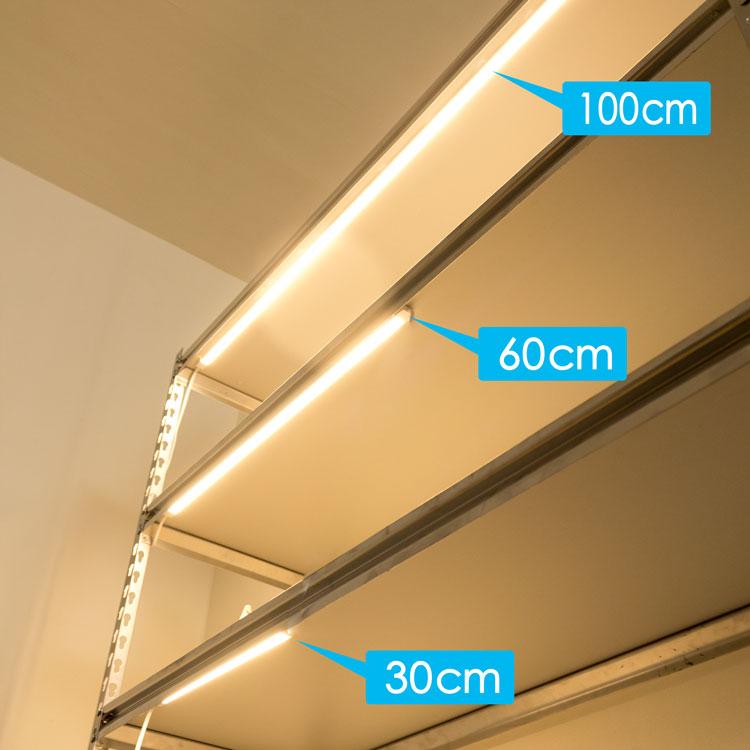 LED多目的灯 LEDバーライト LEDキッチンライト スリムライト 60cm 電球色 40W形 簡単設置 工事不要 間接照明 照明器具 店舗照明 直管形 led照明 ledライト 直線 90度連結【電源アダプター・連結部品・DCケーブル別売り】