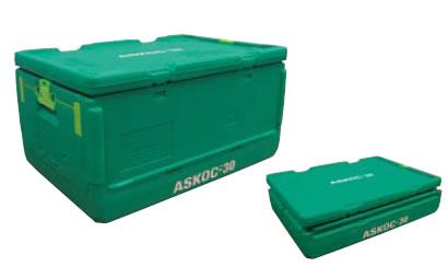 送料無料 冷・温蔵庫 保温・保冷コンテナ 保冷折りたたみコンテナー ASKOC-30(EBM19-1)(604-10)