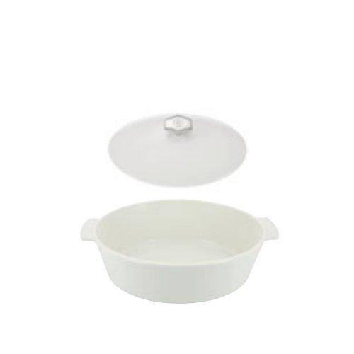 オーブン・電子レンジ・IH対応 レヴォリューション2 オーバルココット 32.5cm 649872(容量4.2L)サテンホワイト蓋付き(EBM19-1)(120-11)