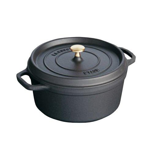 [送料無料]IH対応 ストウブ staub ピコ・ココット・ラウンド ブラック 26cm (ピコココットラウンド)電磁調理器対応 両手鍋 無水調理 無水鍋 (EBM20-1)(105-01)