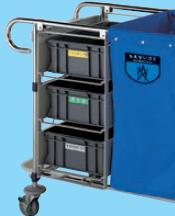 送料無料 ゴミ回収カート ダストカート用 別売オプション リサイクル用システムカート ダストケースユニット(3ヶ入) (山崎産業)[C257-000X-MB]