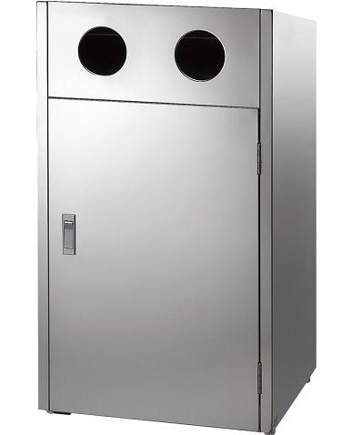 ※代引不可 送料無料 屑入れ・ゴミ箱 屋外用 分別回収用 ステンレス製 リサイクルボックスMT L2(ビン・カン) (山崎産業)[YW-158L-SB]