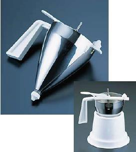 送料無料 鉄板焼・お好み焼き用品 マルテラート18-10 オートマティック ピストンファンネル(スタンド式)(容量0.9L)(6-0887-1601)