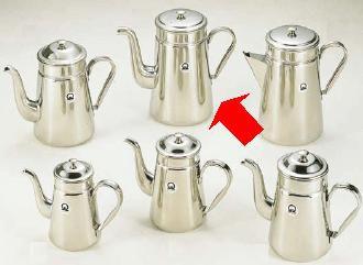 コーヒーポット 18-8ステンレス製 コーヒーポット ♯18ツル首 電磁調理器用 4,000cc (7-0854-0201)
