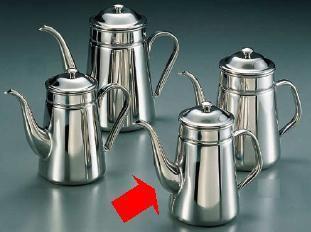 コーヒーポット 18-8ステンレス製 新型ハンドル コーヒーポット 細口 ♯16 電磁調理器用 3,000cc (7-0854-1403)