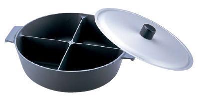 ! よせ鍋・季節鍋・鍋物36cm アルミ製 仕切り付 アルミ 鍋のなべ 四槽式 フッ素加工(ふた付) 36cm (6-1928-0302)