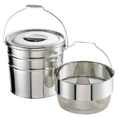 野菜水切り器 ステンレス 18-8 バケットII 水切りタイプ (とんがりダストバスケット式) 15L 中目(8メッシュ)(7-0273-0601)