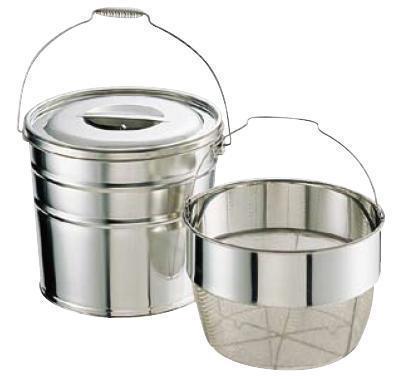 送料無料 野菜水切り器 ステンレス 18-8 バケットII 洗いカゴタイプ(丸型洗いカゴ式) 18L 中目(8メッシュ)(6-0265-0705)