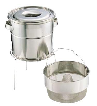 送料無料 野菜水切り器 ステンレス 18-8 バケットIII スタンド式 (とんがりダストバスケット式) 13L 中目(8メッシュ)(6-0265-0801)