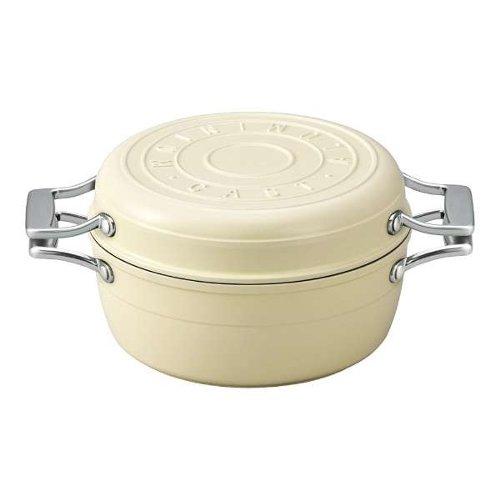 TKG マルチキャスト(アルミ鋳造ホーロー万能鍋) バニラホワイト 煮る・茹でる・蒸す・炊く・炒める・焼く・揚げる・無水調理などオールマイティに使える万能鍋 (6-0068-0602)