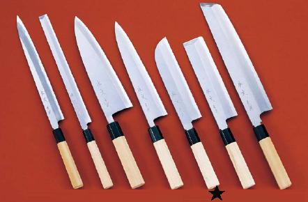 包丁・ナイフ 佐文 青鋼 鎌型薄刃包丁 (片刃) 21cm (7-0279-1603)