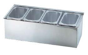 送料無料 薬味・調味料入 保存容器・キッチンポット 18-8ステンレス製 コールド コンディメント ディスペンサー 1/9 4ヶ入 (6-0205-0702)