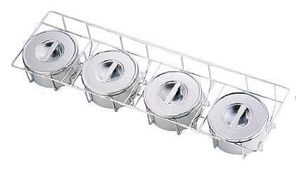 【送料無料】【保存容器】【薬味・調味料入】【保存容器・料理道具・調理用品】18-8ステンレス製中華用ヤクミ入 I型4ヶ入(720×220×H125mm)(6-0204-1701)