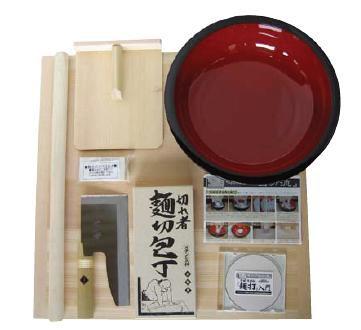送料無料 麺打ちセット A-1015 のし板・めん棒・こね鉢・めん切庖丁・コマ板・入門DVD (6-0361-1101)
